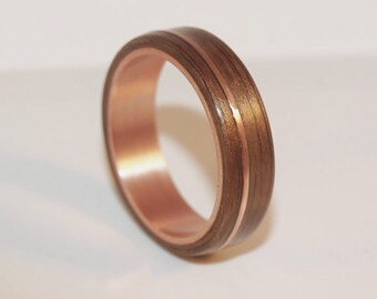 Wooden Rings - Bentwood Copper and Walnut Inlay Rings - Mens Wood Rings, Womens Wood Rings, Wood Engagement Rings, Wood Wedding Bands
