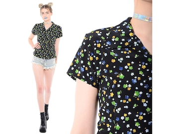 Vintage 90s Xhilaration Daisy Floral Print Blouse Shirt Top Club-Kid Cyber Rave Grunge Clueless L *Free Shipping U.S.* vtg
