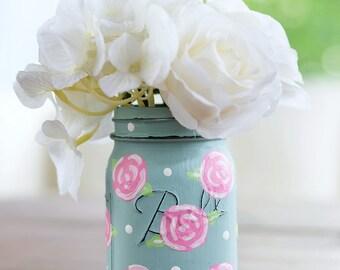 Rose Flower Painted Mason Jar - Pink Rose Mason Jar - Painted Distressed Mason Jar with Roses