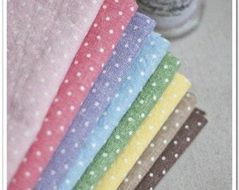 Half Yard Linen fabric for craft,9 colors for choice coffee yellow green blue purple peach pink ,polka dots print,diy C16