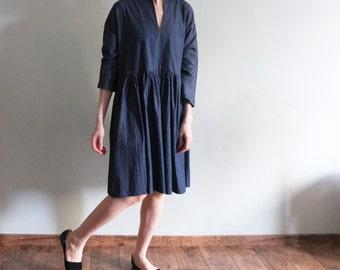 Deep v-neck denim chambray dress