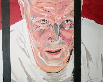 Silence Of The Lambs Painting on Canvas - Hannibal Lecter - Anthony Hopkins
