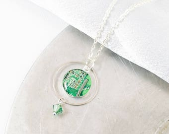 Circuit Board Necklace Green, Upcycled Computer Jewelry, Circuit Board Jewelry, Geometric Necklace, Motherboard Engineering Gift for Her