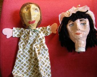 Vintage Primitive Folk Art Paper Mache Puppet and Puppet Head