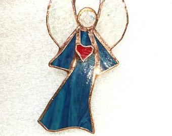 FIGURINE Angel stained glass stained glass heart
