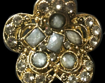 New Antique Gold Art Deco With Smoke Gray Crystal Floral  2'' Hair Claw Clip