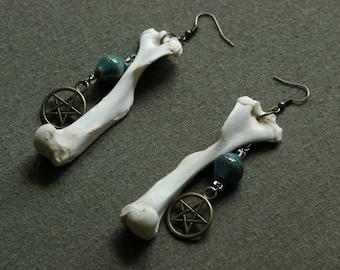 Bone and Bead Dangle Earrings