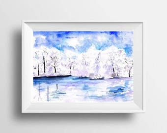 Winter scenery landscape watercolor painting blue lake water tree enchantment fine art print water wall art nature poster muted color decor
