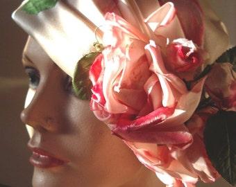 1960s Original Designer Velvet Rose Cream Silk Satin Draped Cloche Item# 751 Hats