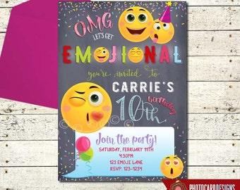 Emoji Invitation, Emoji Birthday Invitation, Emoji Party, Emoji, Invitation, Birthday, Card, Printable, Digital, Tween, invite, Party