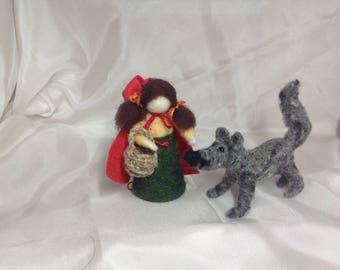Waldorf Inspired Little Red Riding Hood and Wolf ~ Fairy Tale Character ~ Story Telling