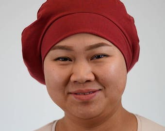 Beret for women who lose their hair because of chemotherapy, trichotillomania, alopecia or other hair problems