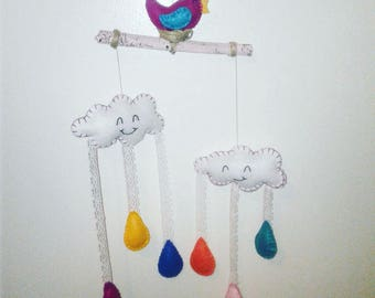Rainy day CLoud BIRD felt baby mobile /wall hanging/nursery decor