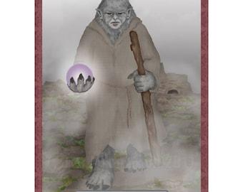 The Hermit Cryptozoology Tarot Card Print