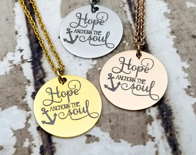 Hope anchors the soul in rose, gold or silver tone stainless steel, faith, religion, hope, tri color, necklace,