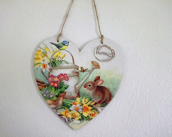 Bunny with Watering Can plaque, decoupaged heart wall hanging, wood wall hanging, 15cm plaque, wall hanging,