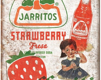"Jarritos Strawberry Fresa Soda Vintage Ad 10"" X 7"" Reproduction Metal Sign N135"