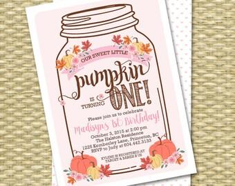 Our Little Pumpkin First Birthday Invitation, Mason Jar Pumpkin Birthday Invite, Fall First Birthday Invitation, Fall Birthday Invitations