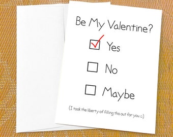 Funny Valentines Day Card for Boyfriend - Yes No Maybe Checkboxes  Funny Valentines Day Card for Girlfriend Him Funny Gay Valentine Card Him