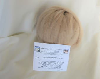 4 oz Light Fawn Alpaca SUPERFINE Roving -  for Spinning, Nuno Felting or Needlefelting