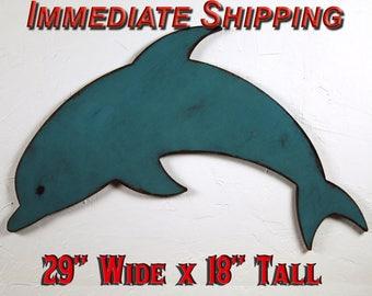 Dolphin Wood Sign Wood Dolphin Decor Dolphin Wall Decor Dolphin Wall Hanging Boys Room Decor Nautical Boys Room Nautical Theme READY TO SHIP