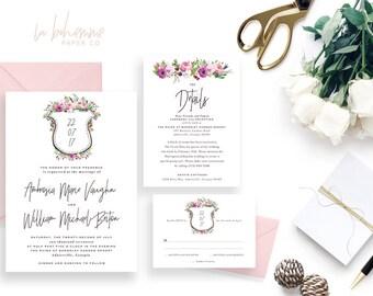 Printable Wedding Invitation Suite / Wedding Invite Set - The Ambrose Crest Suite