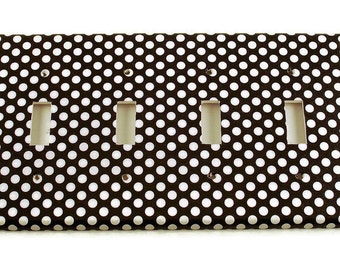 Quad Light Switch Cover Wall Decor Switchplate Switch Plate in  Polka Dots Rock (207Q)