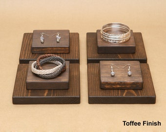 Wooden Jewelry Display Riser For Ring Earring Bracelet / R004