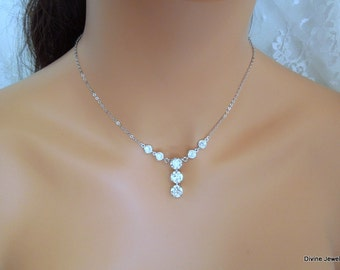 Swarovski Crystal Bridal Necklace Bridal Jewelry Wedding Crystal Necklace Cubic Zirconia Necklace Wedding Necklace Crystal Pendant CAYLA