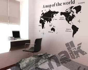 Chalkboard wall decal for home or office large blackboard a map of the world chalkboard sticker wall decal for home or office modern chalk gumiabroncs Gallery