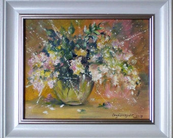 bouquet of white lilac impressionism oil on canvas