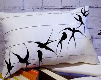 Decorative pillows /designer pillow /bird pillow cover / black /home decor/ antique /  bird pillow / white