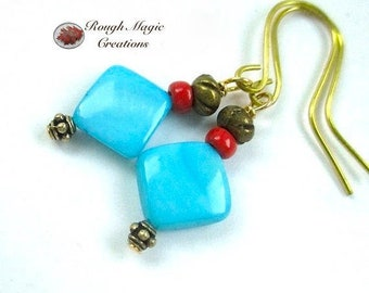 Aqua Blue Shell Earrings, Mother of Pearl, Tropical Beach Ocean Theme, Coral Red Glass, Antiqued Brass, Casual Summer Jewelry for Women E449