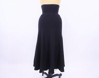 "1980s cotton skirt   solid black high waist stretchy skirt   vintage 80s skirt   W 22""+"
