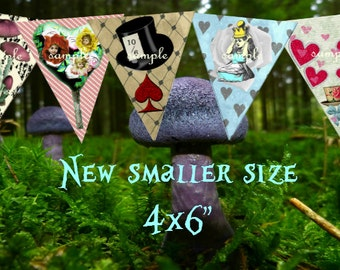 "Alice in Wonderland Decorations  Set #2 - 4x6""  Party  Bunting  alice in wonderland party  Digital Download 5 Pieces Tea Party Birthday"