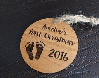 First Christmas Ornament Baby's First Christmas Engraved Ornament Alder Wood 2018