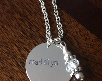 CUSTOM Hand Stamped Necklace SINGLE large charm pendant on chain