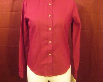 Vintage Vtg Mandy womens shirt M 9/10 embroidered ducks button down tag hunting red wine burgundy
