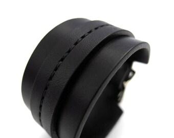 Black on Black Saddle Stitch Cuff