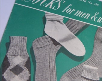 PATTERNS  for KNITTED SOCKS, 1948, Chadwick's Red Heart Booklet No. 250, Vintage Knitting Instructions