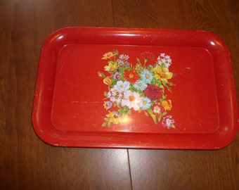 Floral Red Tray