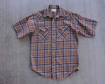 BEAT To HELL Rare Vintage Penneys Ranchcraft Brown Plaid Pearl Snap Western Shirt L