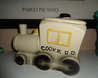 Charming Vintage  Kitschy  Choo Choo  Train Vintage ABC American Bisque Company Choo Choo Train Cookie Jar