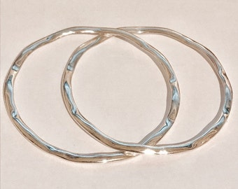 Sterling Silver Double Bangles With A Hammered Wavy Finish