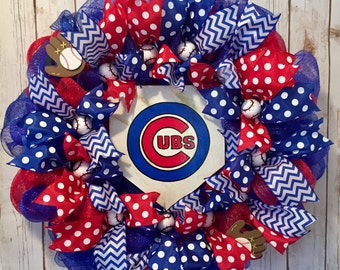 Chicago cubs baseball wreath, Cubs front door wreath, cubs front door decoration, red and blue wreath, home plate sign, cubs logo