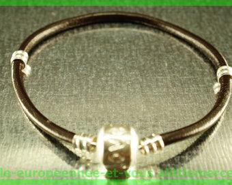love for leather N71 European Bead Bracelet 18cm charms
