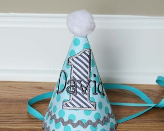 Boys First Birthday Party Hat - Michael Millers Aqua Ta Dot and grey stripes - Free personalization