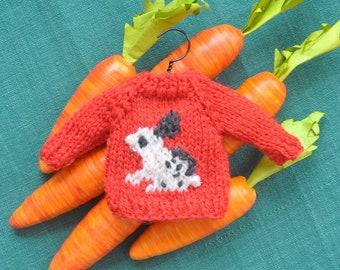 Black & White Bunny Hand-Knit Sweater Ornament