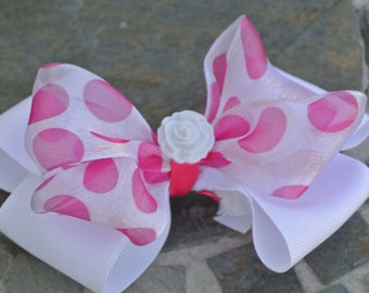 Delicate White Bow with Pretty Bright Pink Polka Dots - Flower Girl Bow