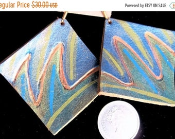 On Sale Navy Olive Gold Square Painted Leather Earrings